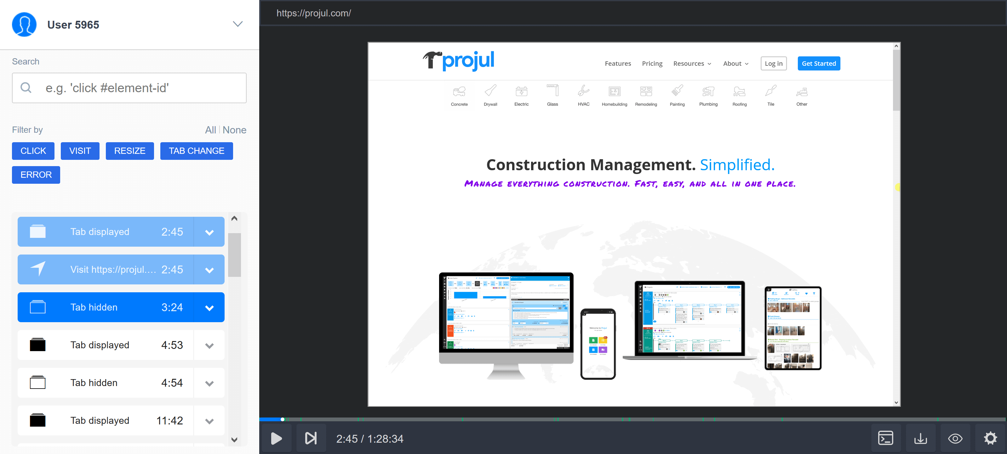 Projul's user session replay